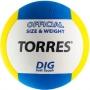 Мяч волейбольный Torres Dig синий - желтый